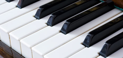 Closeup view of a piano keyboard