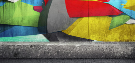 Abstract 3d graffiti fragment on the concrete wall. Photo collage with 3d illustration elements