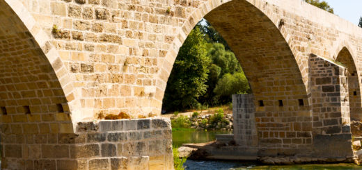 in europe turkey aspendos the old bridge near the river and nature