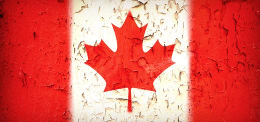 Vintage effect Canadian flag.