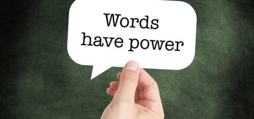 Words have power written on a speechbubble