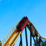 attraction small roller-coaster in Kharkiv in Ukraine